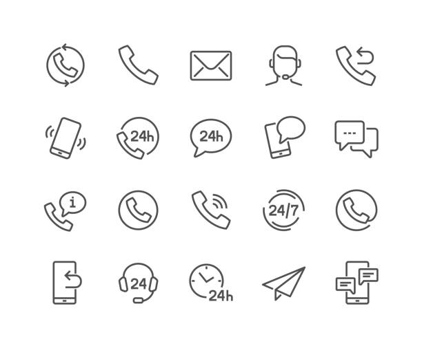 line contact icons - помощь stock illustrations