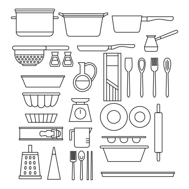 bildbanksillustrationer, clip art samt tecknat material och ikoner med linje matlagning utrustning set. cook shop design element och verktyg ikoner. kocken kök rätter - frying pan