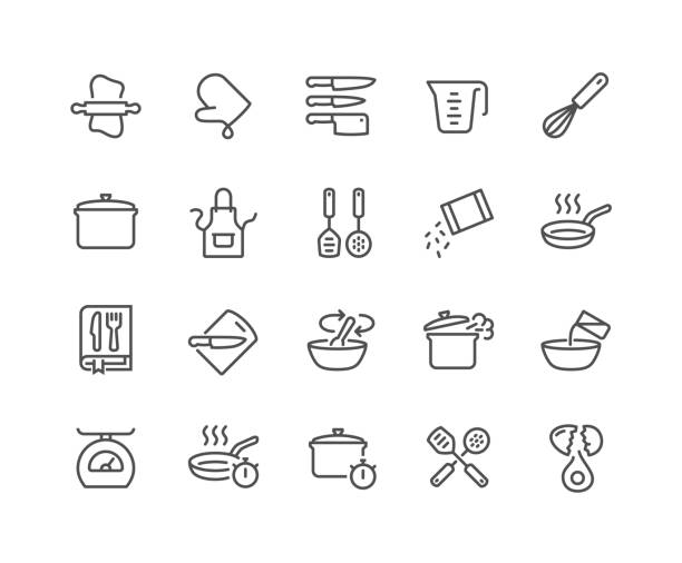 Line Cooking Icons Simple Set of Cooking Related Vector Line Icons. Contains such Icons as Kitchen Utensils, Boiling and Frying Time, Cookbook and more. Editable Stroke. 48x48 Pixel Perfect. cooking icons stock illustrations