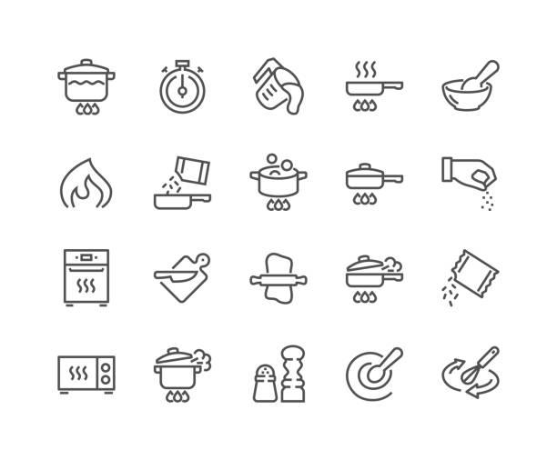 illustrazioni stock, clip art, cartoni animati e icone di tendenza di icone di cottura di linea - cucinare