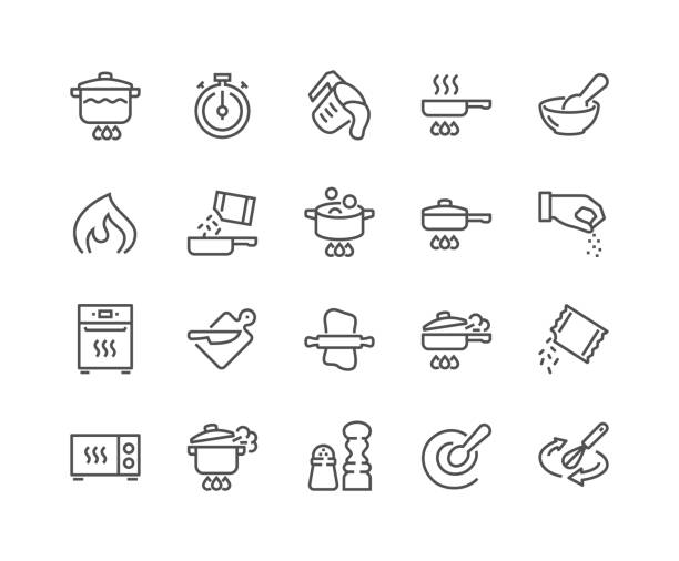 Line Cooking Icons Simple Set of Cooking Related Vector Line Icons. Contains such Icons as Frying Pan, Boiling, Flavoring, Blending and more. Editable Stroke. 48x48 Pixel Perfect. cooking stock illustrations