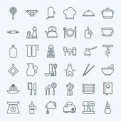 Line Cooking Utensils and Kitchenware Icons Set. Vector Set of Modern Thin Outline Kitchen Tools Items.