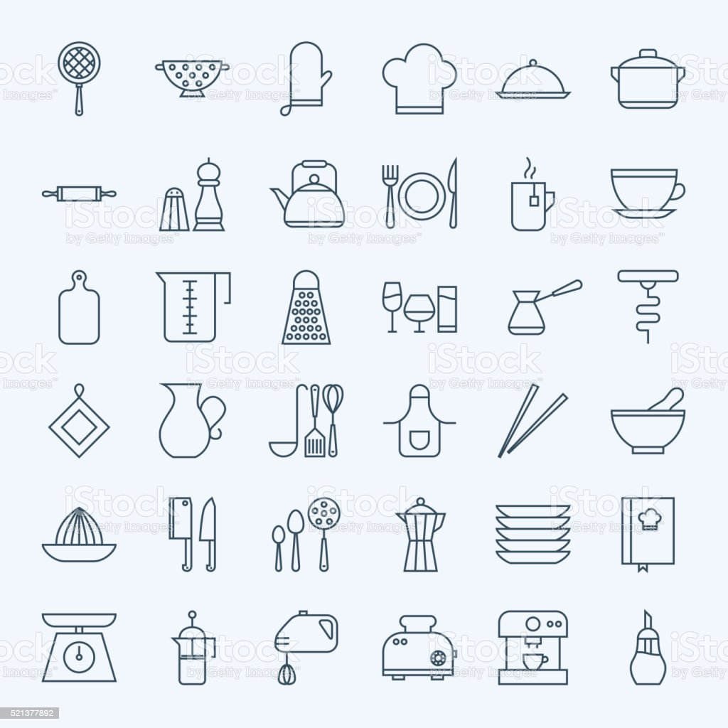 Line Cooking Utensils and Kitchenware Icons Set vector art illustration