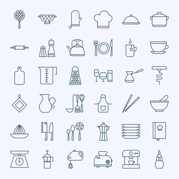 stockillustraties, clipart, cartoons en iconen met line cooking utensils and kitchenware icons set - bord serviesgoed