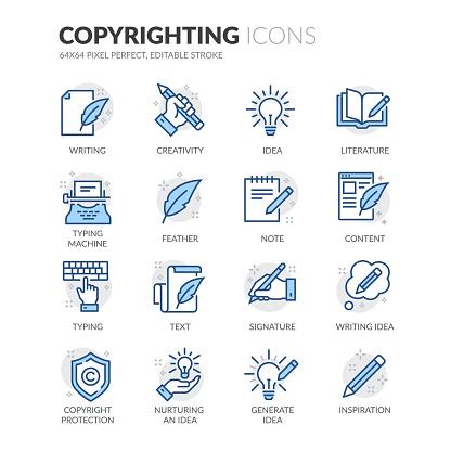 Line Copyrighting Icons