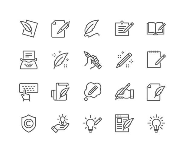 ikony copywritingu wiersza - pióro przyrząd do pisania stock illustrations