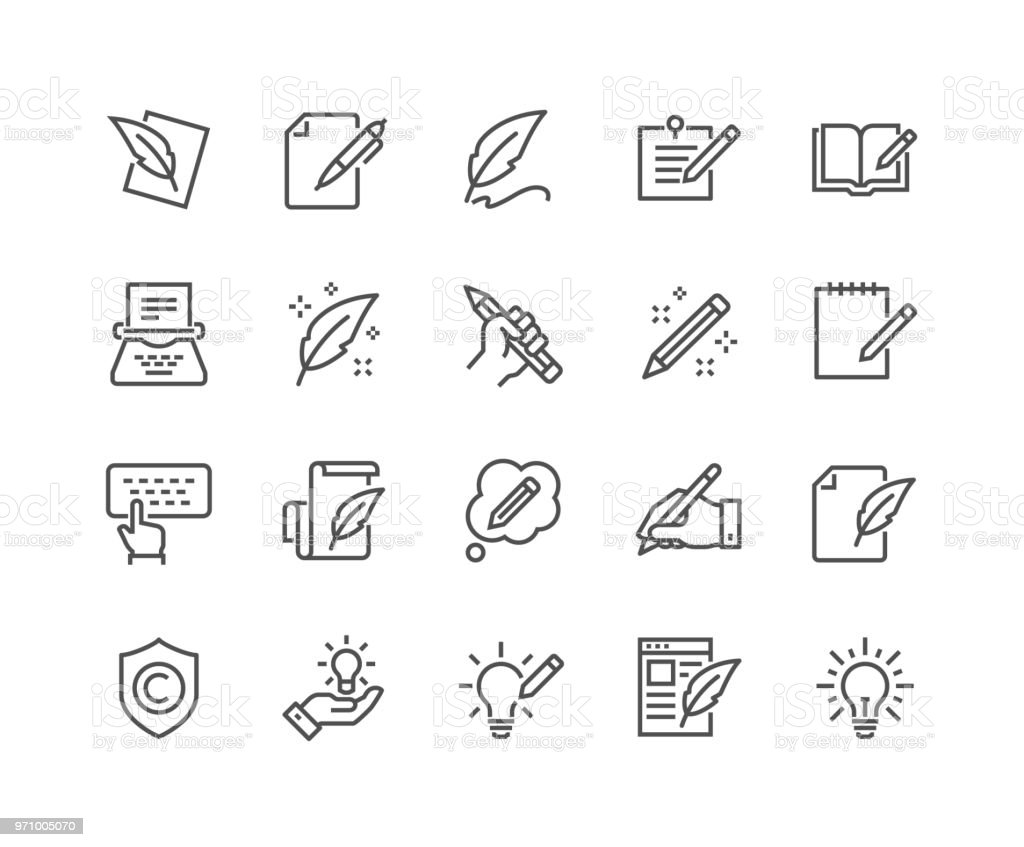 Line Copywriting Icons vector art illustration