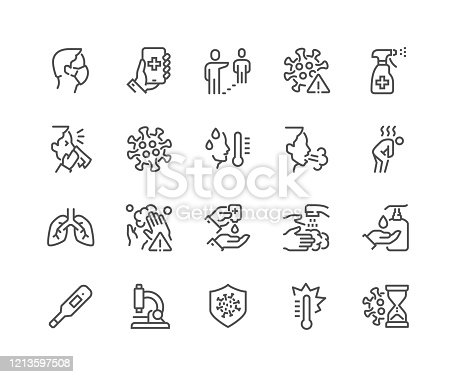 Simple Set of Coronavirus COVID-19 Protection Related Vector Line Icons.  Contains such Icons as Protective Measures, Coronavirus Symptoms, Incubation Period and more. Editable Stroke. 48x48 Pixel Perfect.