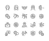 Simple Set of Coronavirus COVID 19 Safety Related Vector Line Icons.  Contains such Icons as Washing Hands, Outbreak Map, Man and Woman Wearing Face Mask and more. Editable Stroke. 48x48 Pixel Perfect.