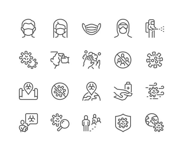 Line Coronavirus COVID-19 Protection Icons Simple Set of Coronavirus COVID 19 Safety Related Vector Line Icons.  Contains such Icons as Washing Hands, Outbreak Map, Man and Woman Wearing Face Mask and more. Editable Stroke. 48x48 Pixel Perfect. distant stock illustrations