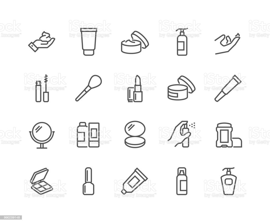 Line Cosmetics Icons - Grafika wektorowa royalty-free (Atomizer do perfum)