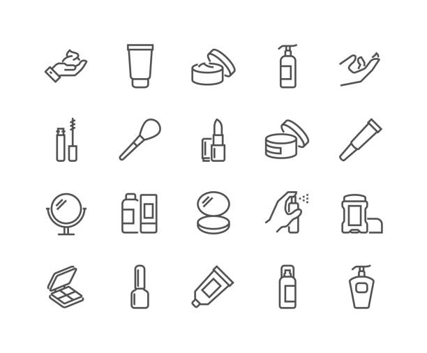 stockillustraties, clipart, cartoons en iconen met lijn cosmetica pictogrammen - skincare