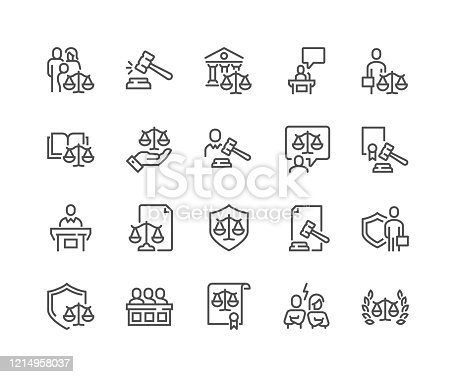 Simple Set of Court Related Vector Line Icons.  Contains such Icons as Hammer, Justice, Lawyer and more. Editable Stroke. 48x48 Pixel Perfect.