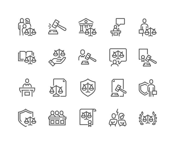 Line Court Icons Simple Set of Court Related Vector Line Icons.  Contains such Icons as Hammer, Justice, Lawyer and more. Editable Stroke. 48x48 Pixel Perfect. courthouse stock illustrations