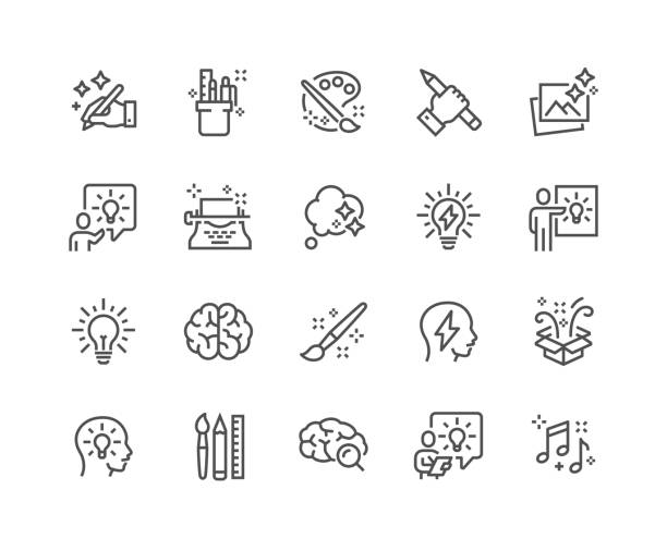 Line Creativity Icons Simple Set of Creativity Related Vector Line Icons.  Contains such Icons as Inspiration, Idea, Brain and more. Editable Stroke. 48x48 Pixel Perfect. icon stock illustrations
