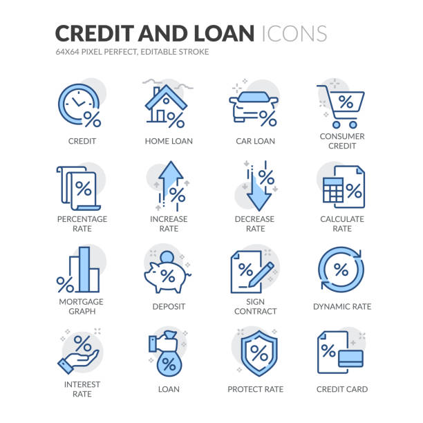 ilustrações, clipart, desenhos animados e ícones de ícones de crédito e empréstimo da linha - empréstimo