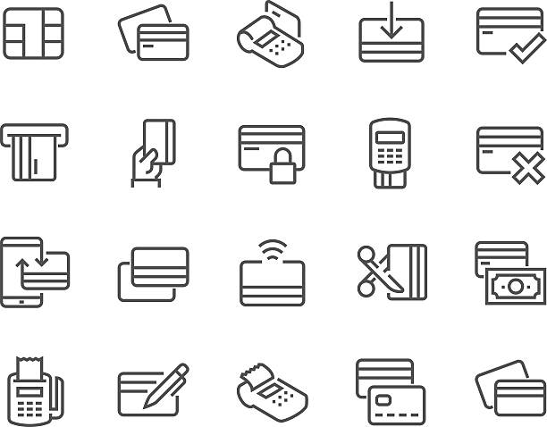 line credit card icons - credit card stock illustrations