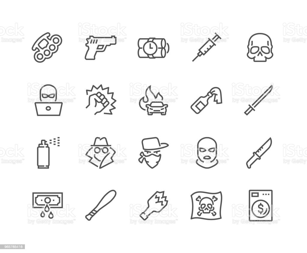 Line Crime Icons vector art illustration