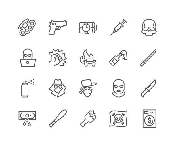stockillustraties, clipart, cartoons en iconen met lijn misdaad pictogrammen - steel