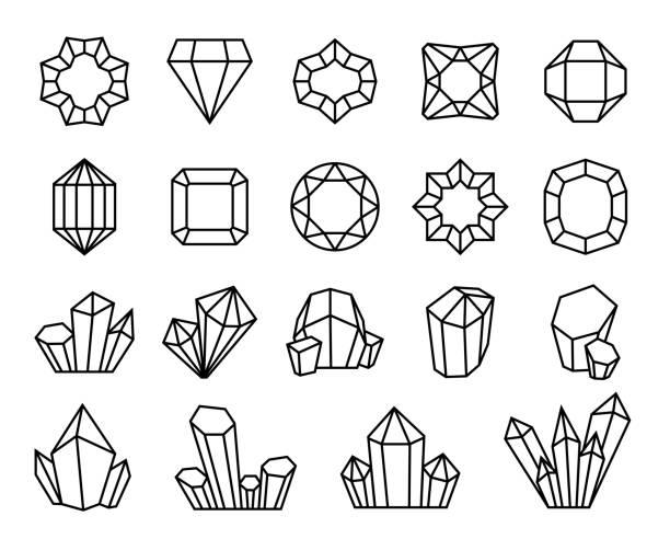 bildbanksillustrationer, clip art samt tecknat material och ikoner med linje kristaller. mineral ädelsten pärla sten juvel dyrbar kontur diamanter form lyx kristall kristallisera stalagmit kvarts vektor - stalagmit
