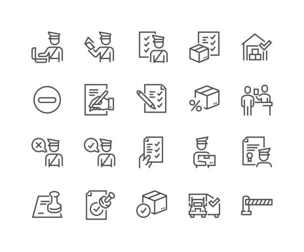 Line Customs Icons Simple Set of Customs Related Vector Line Icons.  Contains such Icons as Declaration, Passport Control, Approve Stamp and more. Editable Stroke. 48x48 Pixel Perfect. customs stock illustrations