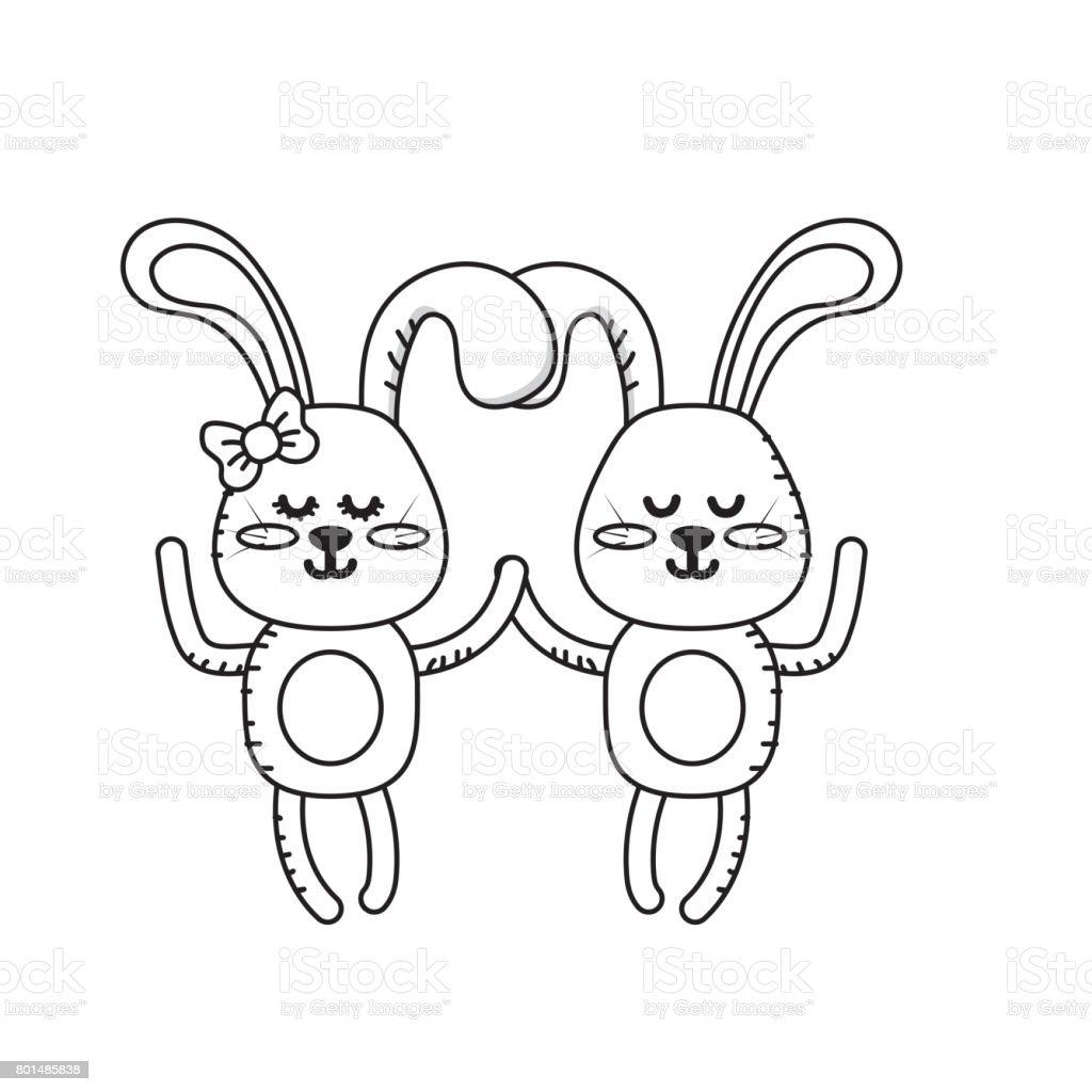 ウサギかわいい動物カップルを一緒に行します - アイコンのベクター