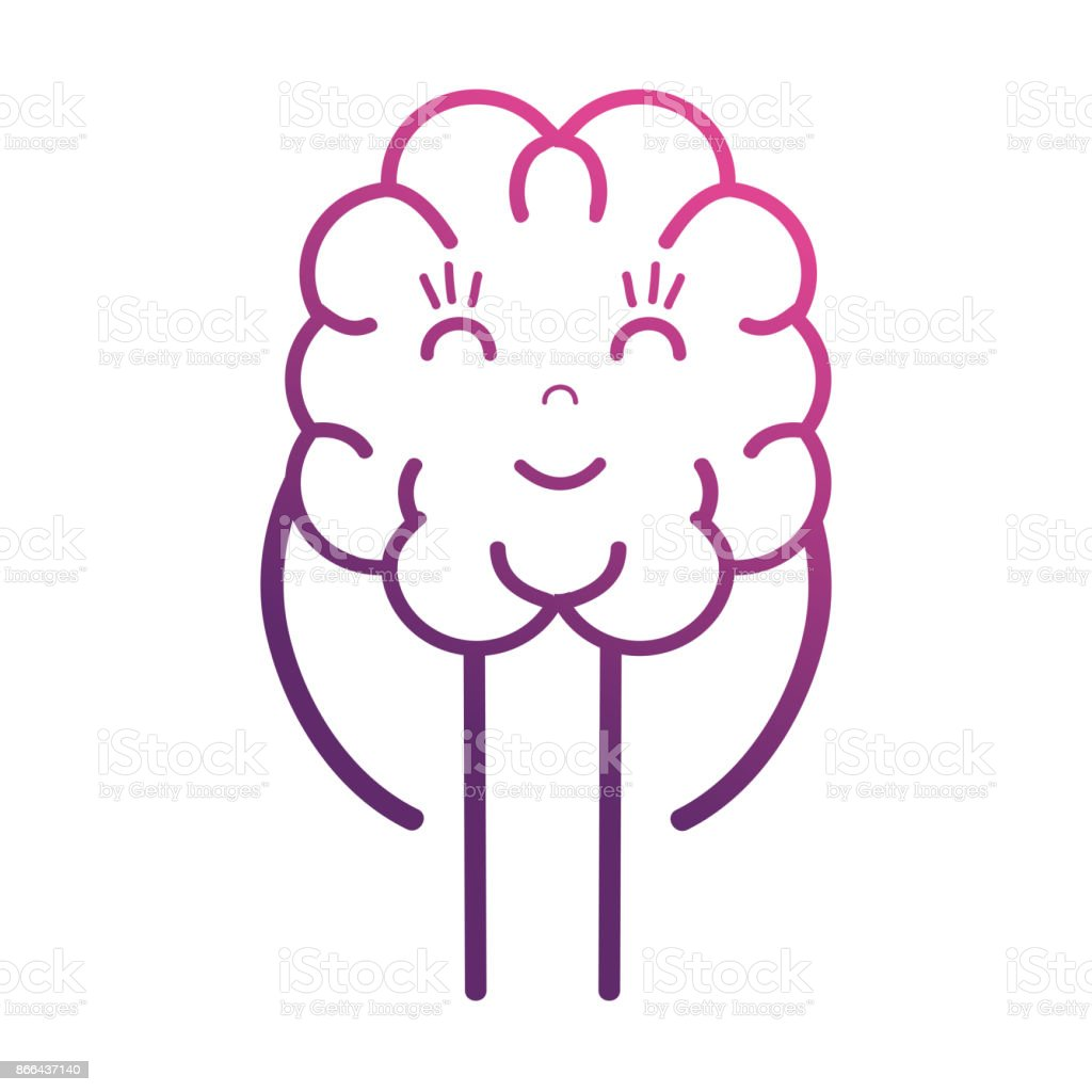 line cute brain kawaii with arms and legs vector art illustration