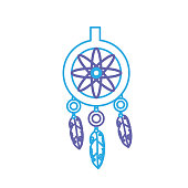 line cute dream catcher with feathers design vector illustration