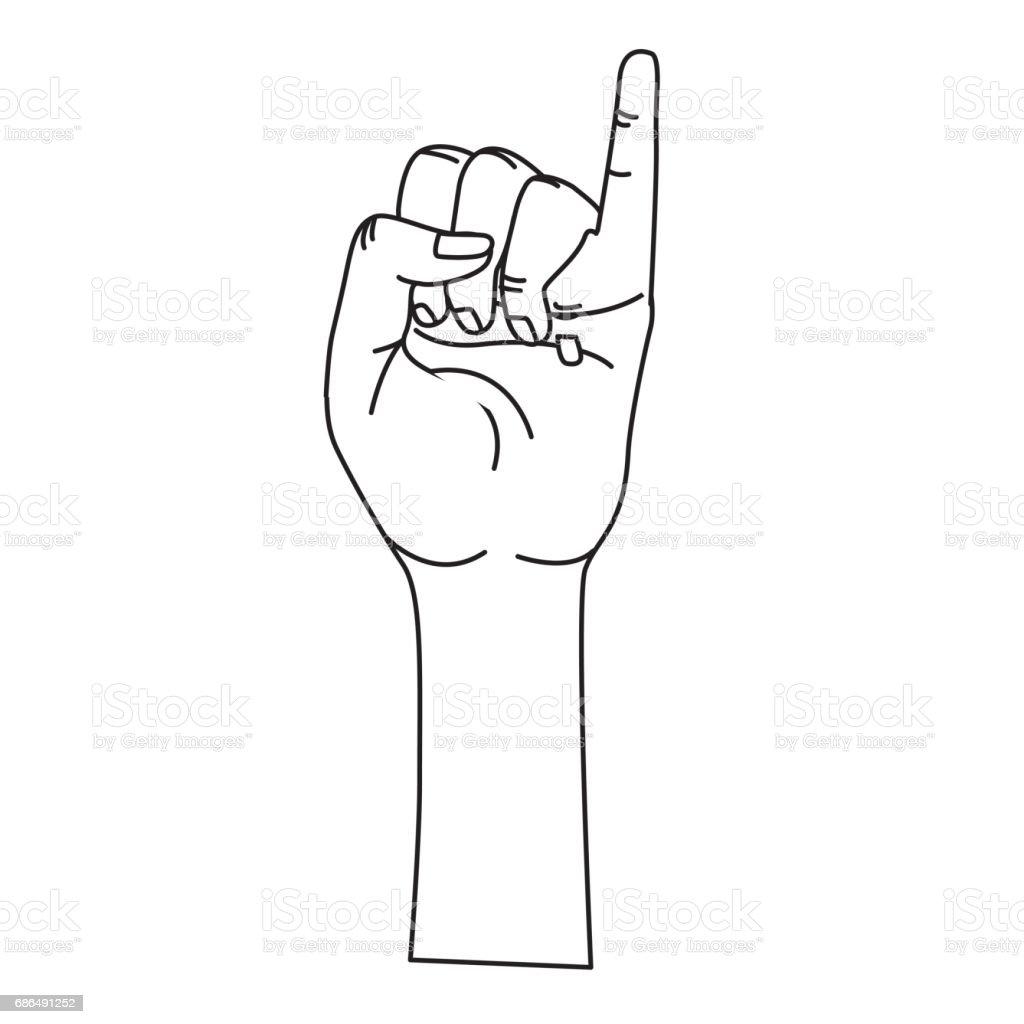 シンボルを小指ラインかわいい手 ののしりのジェスチャーのベクター