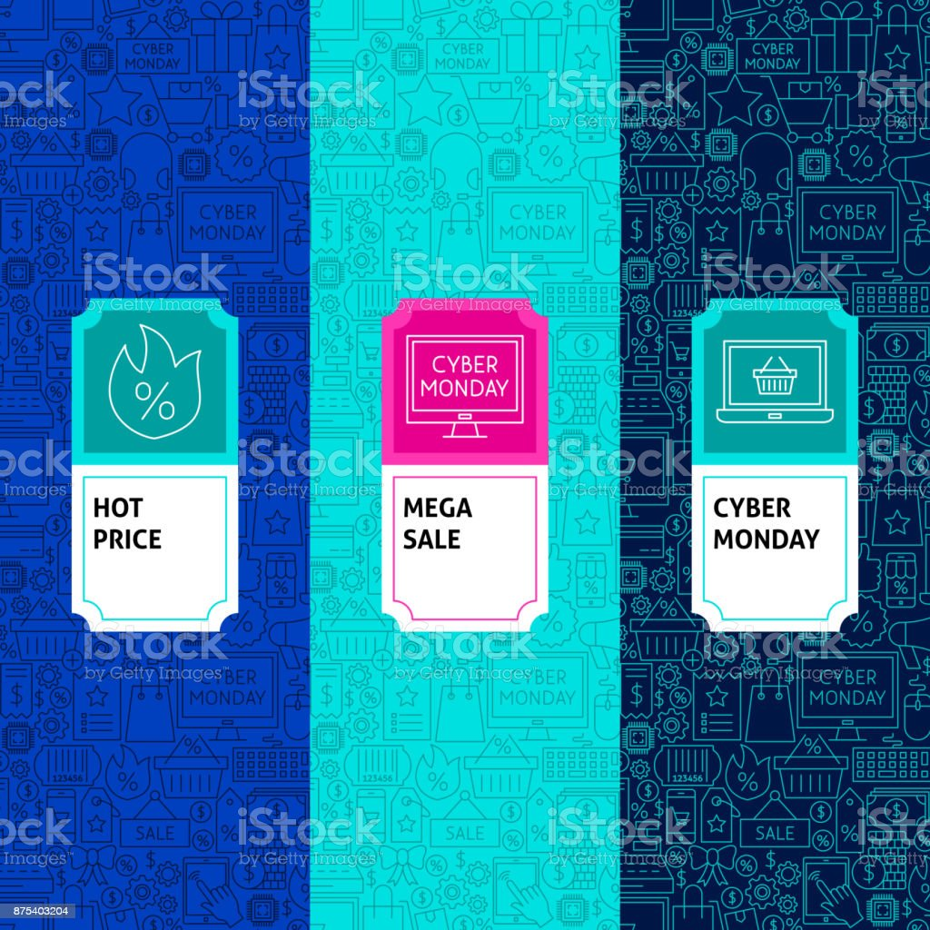 Line Cyber Monday Package Labels. Vector Illustration. Template for...