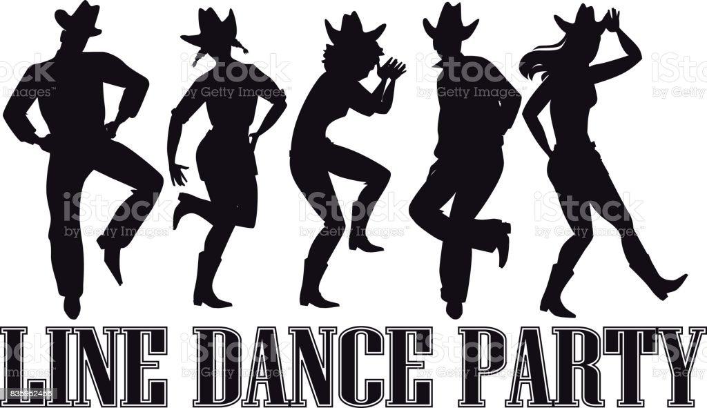 Line dance party banner vector art illustration
