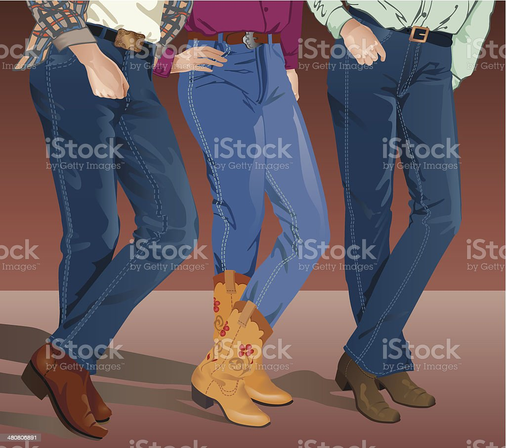 Line Dancers C vector art illustration
