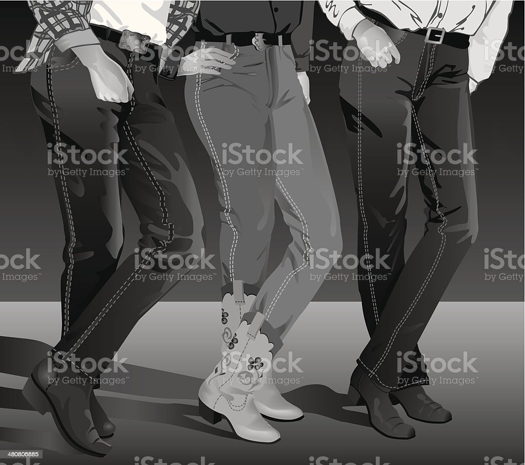 Line Dancers vector art illustration