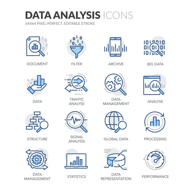 Line Data Analysis Icons Simple Set of Data Analysis Related Vector Line Icons.  Contains such Icons as Big Data, Processing, Performance and more. Editable Stroke. 64x64 Pixel Perfect. data stock illustrations