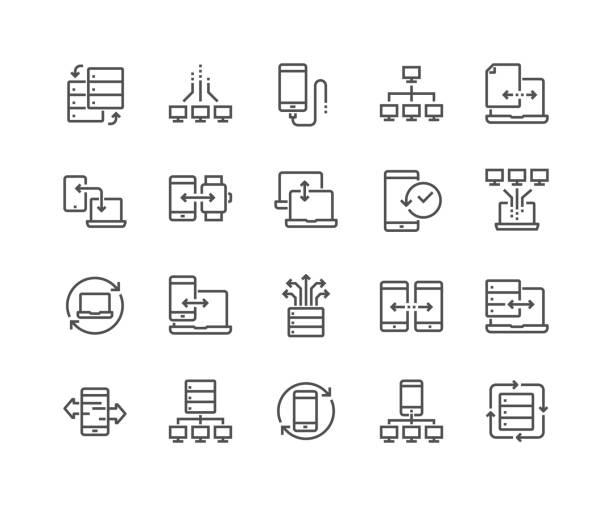 line data exchange icons - architecture icons stock illustrations
