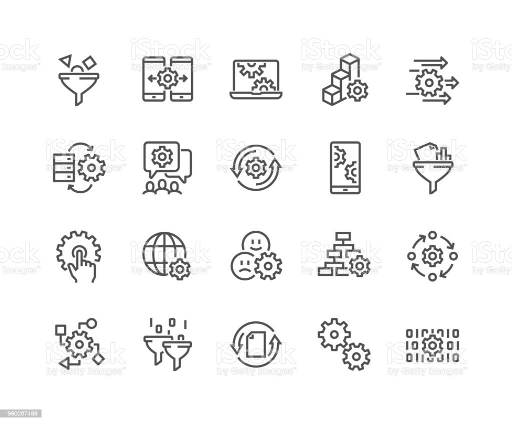 Line Data Processing Icons royalty-free line data processing icons stock illustration - download image now
