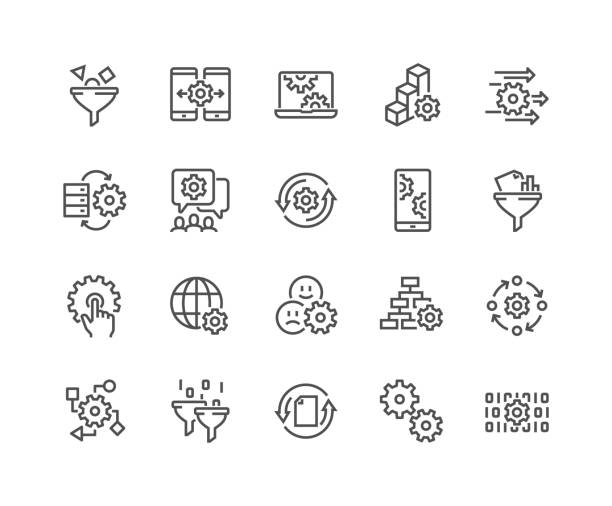 line data processing icons - motion stock illustrations