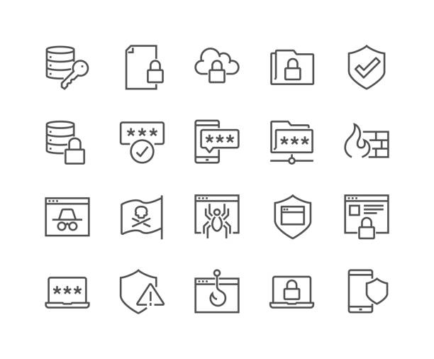 Line Data Security Icons Simple Set of Data Security Related Vector Line Icons. Contains such Icons as Firewall, Pirate Flag, Web Spider, Password and more. Editable Stroke. 48x48 Pixel Perfect. passing giving stock illustrations