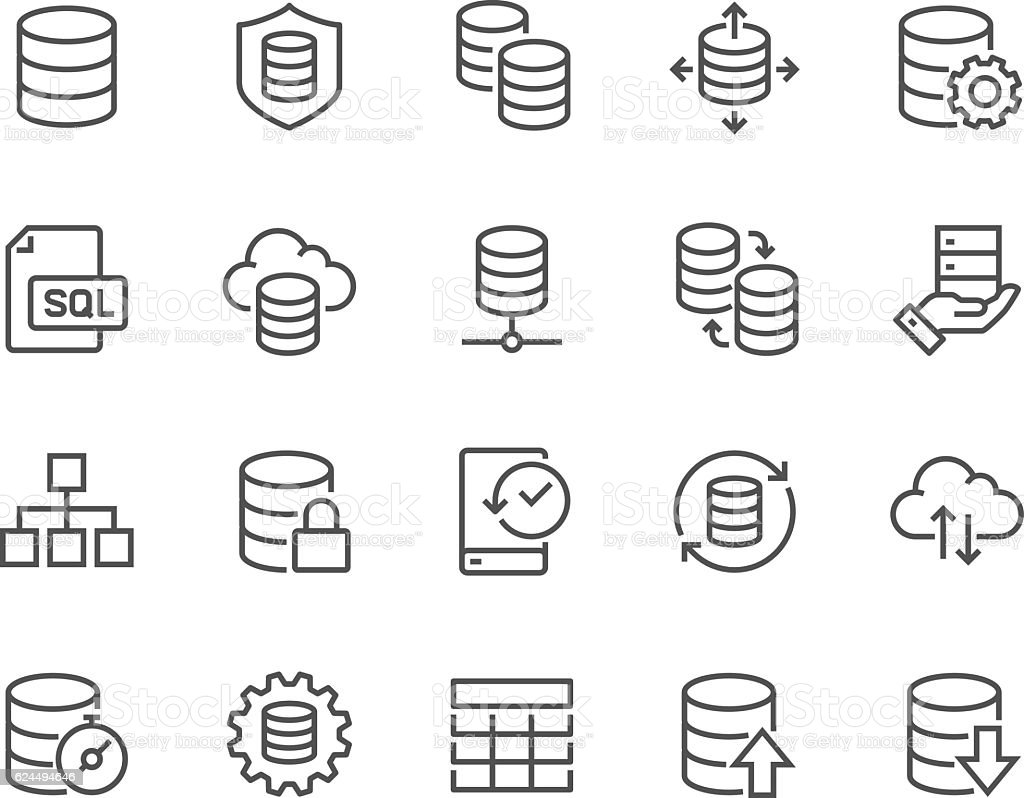 Line Database Icons vector art illustration