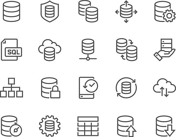 stockillustraties, clipart, cartoons en iconen met line database icons - back up