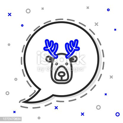 Line Deer head with antlers icon isolated on white background. Colorful outline concept. Vector.