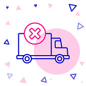 Line Delivery cargo truck vehicle icon isolated on white background. Colorful outline concept. Vector Illustration