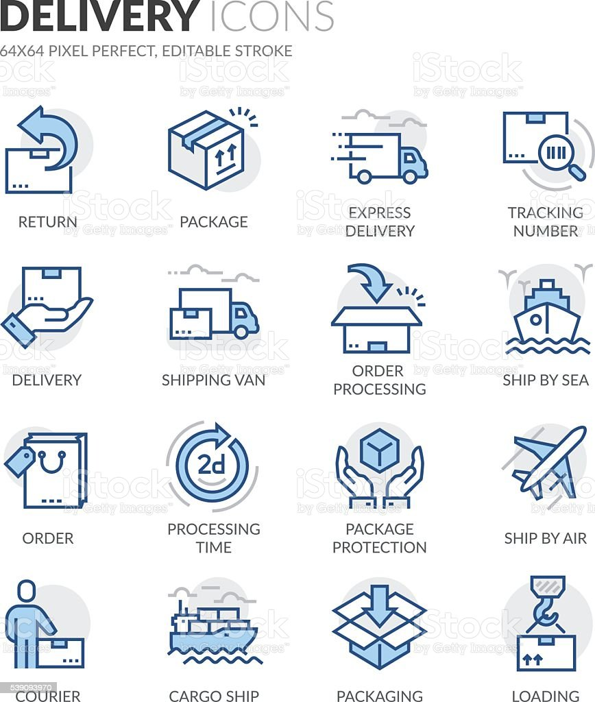 Line Delivery Icons vector art illustration
