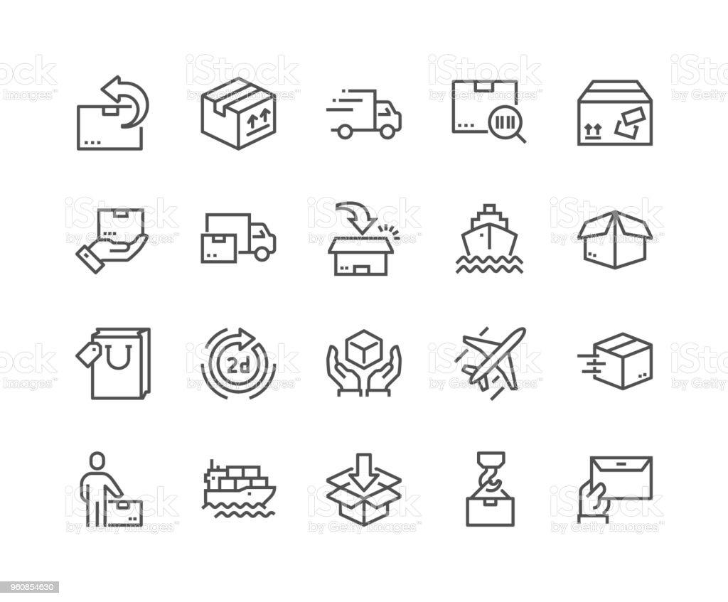 Ligne icônes de livraison - Illustration vectorielle
