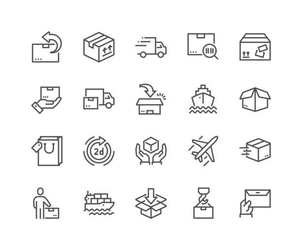Line Delivery Icons Simple Set of Delivery Related Vector Line Icons. Contains such Icons as Priority Shipping, Express Delivery, Tracking Order and more. Editable Stroke. 48x48 Pixel Perfect. for sale stock illustrations
