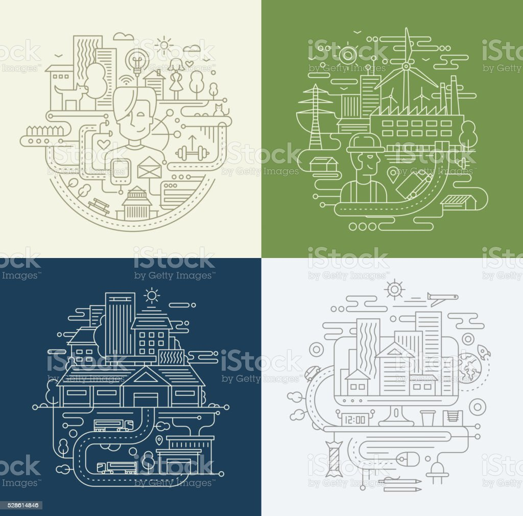 Line Design Compositions Set - City Lifestyle, Factory, Travel vector art illustration