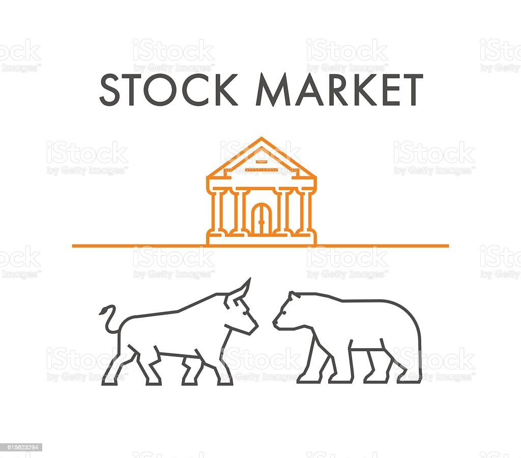Line design concept for stock market. vector art illustration