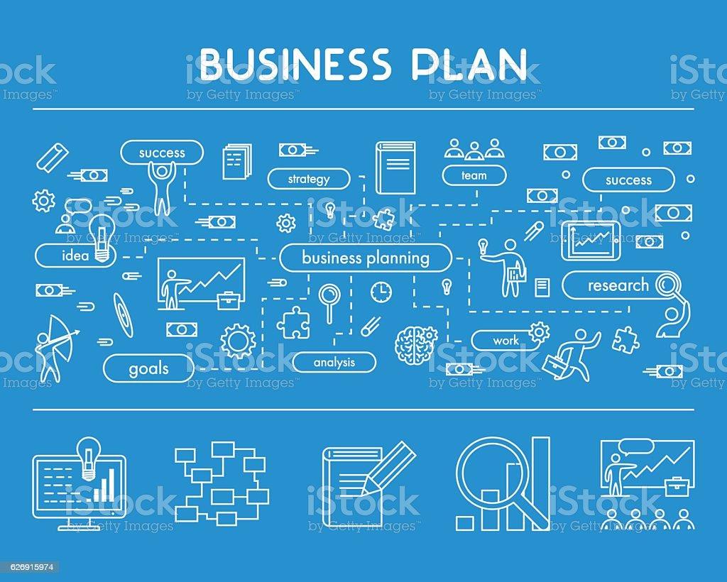 Line design web concept for business plan vector art illustration