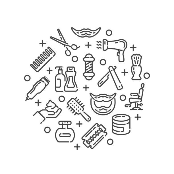 Line design with barbershop or hair salon elements. Vector illustration. vector art illustration