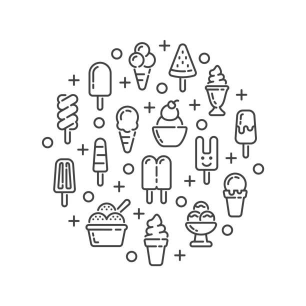 Line design with ice cream and popsicle elements. Vector illustration. vector art illustration